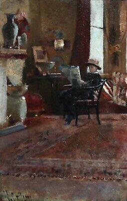 Hector Caffieri (1847-1932) Signed English Impressionist Oil - Young Boy Reading
