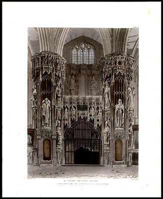 R Ackermann Engraving Aquatint Henry the FIfth Chapel Westminster Abbey London