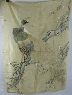 Chinese Antique Large Silk Embroidery of a Peacock - Very Fine Qing c19th Bird