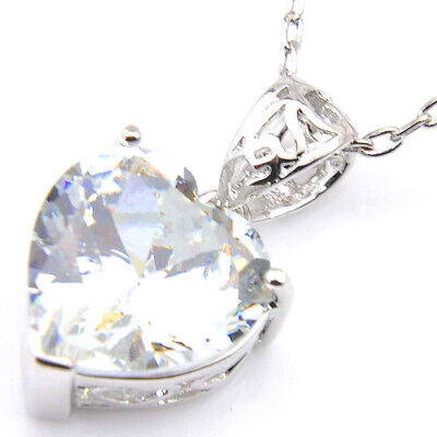 Love Heart Dazzling Natural White Fire Topaz Platinum Plated Necklace Pendants