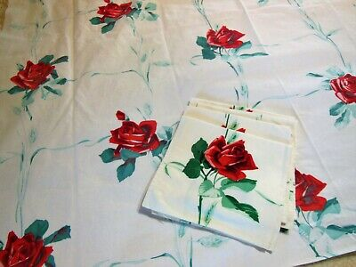 Vintage Tablecloth WILENDUR AMERICAN BEAUTY 4 Napkin Set Red Roses Green Wheat