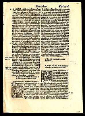 2nd Chronicles and Ezra 1-4 1519 Bible Leaf Lot (2) 6 Historiated Letters