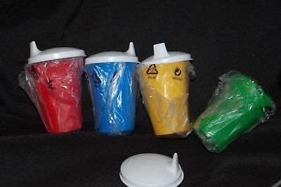 Tupperware 4pc 7oz BELL TUMBLER set w/SIPPER SEALS red yellow blue green kids