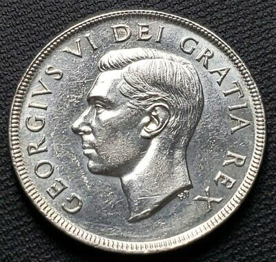 1952 No Water Lines Canada 80% Silver $1 Dollar Coin ***Great Detail*** Polished
