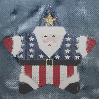 """Patriotic Santa Star"" Fancy Carole #1307 handpainted needlepoint canvas threads"