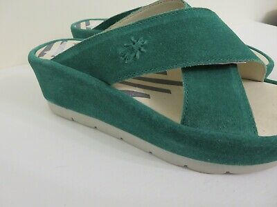 54c6a73d45 FLY London Leather Platform Slides Begs AVOCADO Size 36 FITS 5.5 TO 6