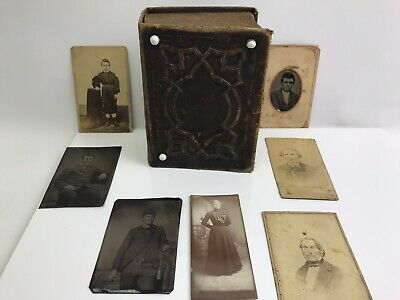 Antique Photo Album with 50+ Pictures, Most Tintypes, from Illinois