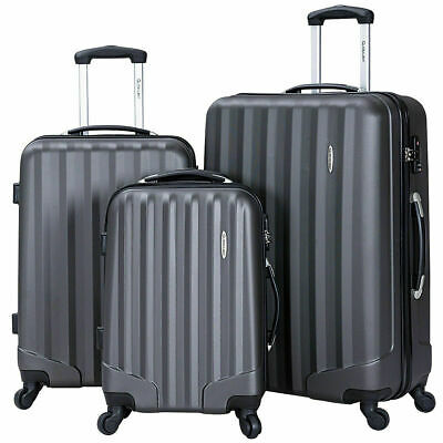 GLOBALWAY 3 Pcs Luggage Travel Set Bag ABS Trolley Suitcase w/TSA Lock Gray
