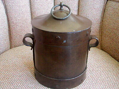Arts & Crafts Mission Ferrous Metal Container Copper Rivets Made in France w/Lid