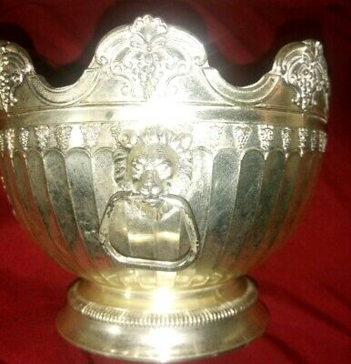 Silver Plated Rose Bowl Lion Head Handles Grapes Candy Dish