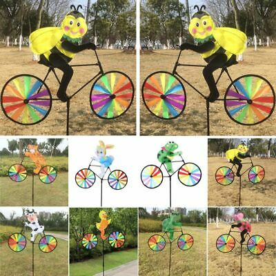3D Animal on Bike Windmill Wind Spinner Whirligig Garden Lawn Yard 3D Decor