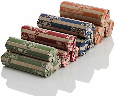 J Mark 100 Count Assorted Flat Coin Roll Wrappers, 25 Each of Quarter, Penny,...
