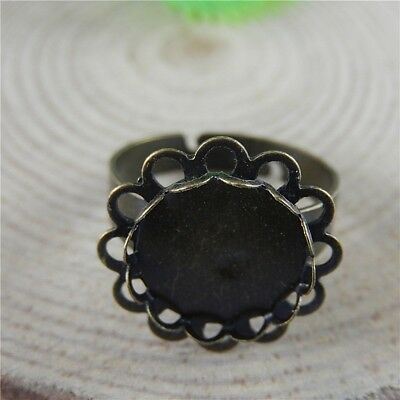 Lot of (x15) Bronze Iron Round 12mm Lace Base Setting Ring Jewelry Findings