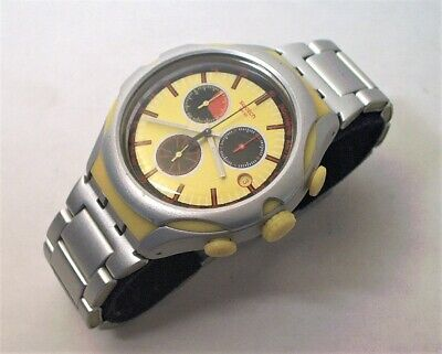 Swatch Lemon Squash 3 Register Quartz Chronograph W/ Date - New Battery Running