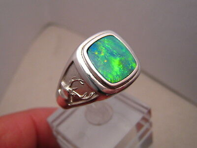 Mens Opal  Deer Ring sterling silver Any Size ( can be made in Gold )