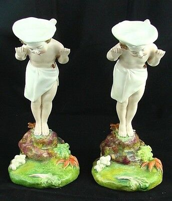 RARE Pair of Antique Minton Majolica 'Chef' Cupid Menu Card Holders