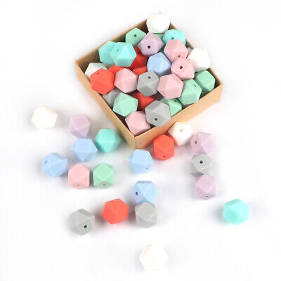 30X Silicone Beads Baby Teething Toy Teether Bead Pacifier Chain Chew Toys 14mm