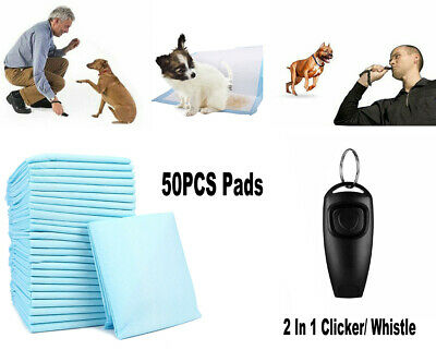 50 Large Puppy Pads Toilet Dog Mats Pee Wee Potty + 2 in 1 Training Whistle Pet