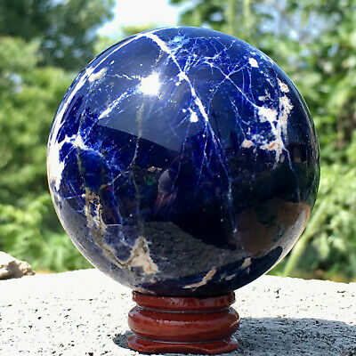 275G Natural Sodalite Sphere Round Crystal Ball Healing Sphere Rock Stone