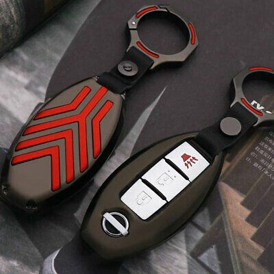 1x Gun Grey Metal Remote Key Fob Cover w/ Red Line For Nissan Infiniti Oval
