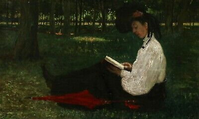 19th CENTURY LARGE FRENCH IMPRESSIONIST OIL - GIRL WITH PARASOL READING FOREST
