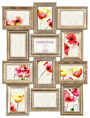 Multi Aperture Photo Picture Frame Holds 12  6''X4'' Photos Antique Rose Gold