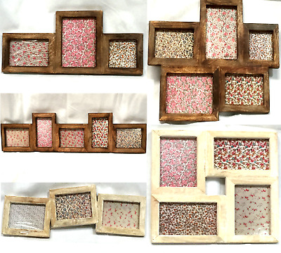 Vintage Rustic Dark or Whitewashed Wood Multi Photo Frames Collage Picture Frame