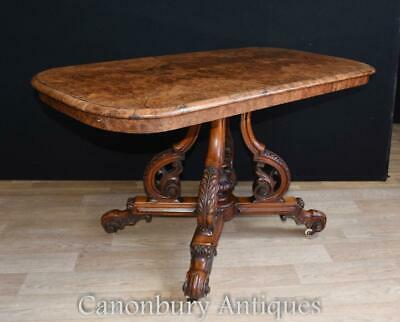Victorian Burr Walnut Side Table Desk 1880