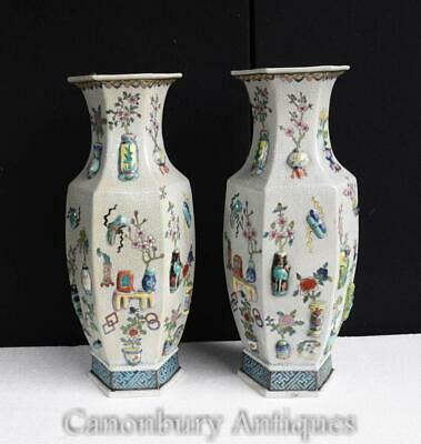 Pair Chinese Vases - Qianlong Ceramic Urns Porcelain Pottery China