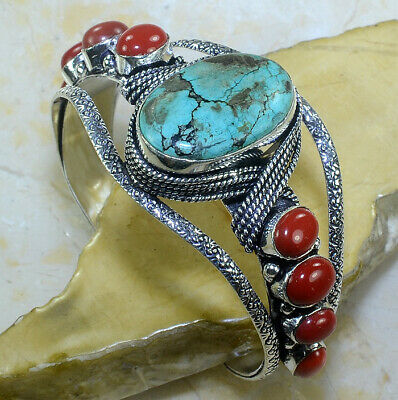 "Turquoise+Red Coral Adjustable Bangle Cuff Bracelet 6 3/4""; W3664"