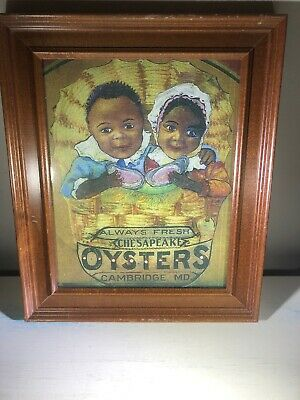 Chesapeake Oysters Cambridge MD advertising Framed Reproduction Bay Decor Coast