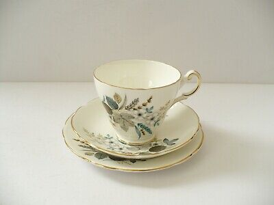 Windsor Bone China Trio Tea Cup,Saucer & Tea Plate With Flower & Leaf Decoration
