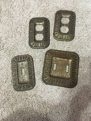 VINTAGE Antique BRASS Ornate Lot of 4 Light Switch Plates & Outlet Covers 1968