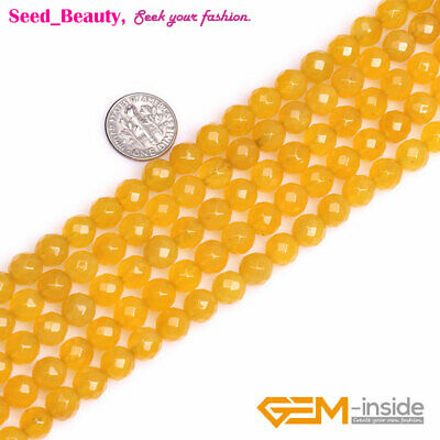 """Natural Round Faceted Yellow Agate Stone Beads For Jewelry Making Strand 15"""" DIY"""