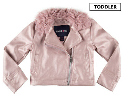 Limited Too Girls' Jacket With Fur Trim - Blush