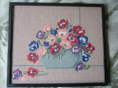 Very Old Vintage Art Deco Floral Embroidery Needlework Wool Picture Framed