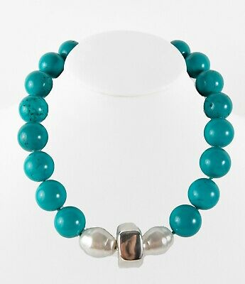 Simon Sebbag  Turquoise/Pearl  w/ Sterling Silver Bead Necklace