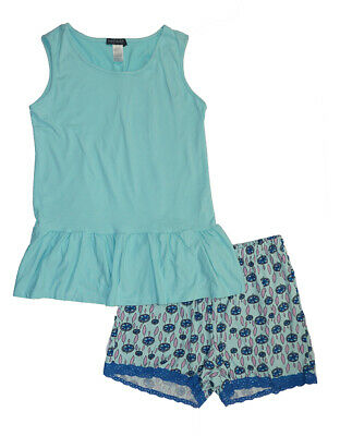 Emme Jordan Womens Blue Dream Catcher Two-Piece Pajama Short Set Size S M L XL