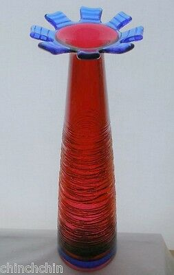 Mind Bending TALL Art Glass VASE Signed YOUNG CONSTANTIN Sculptural RICH COLORS