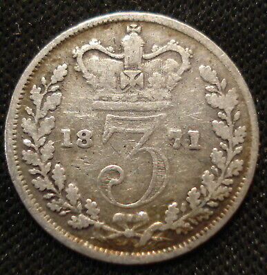 1871 Victoria Bun Head Silver Threepence Clear Date Collectable