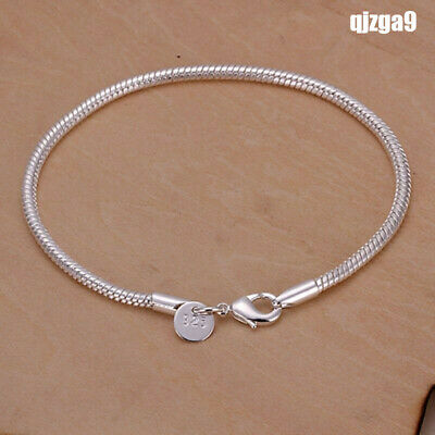 Fashion 925 Silver plating Jewelry 3MM Snake Chain Bracelet For Women Gift