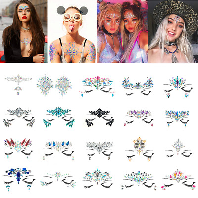 Festival Ches Face Crystal Gems Glitter Mermaid Adhesive Sticker Tattoo Make Up