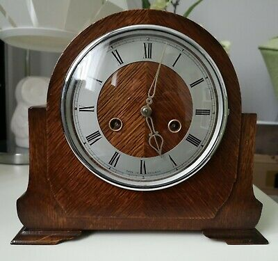 Smiths Enfield Vintage Chiming Mantel Clock (1940's) With Key