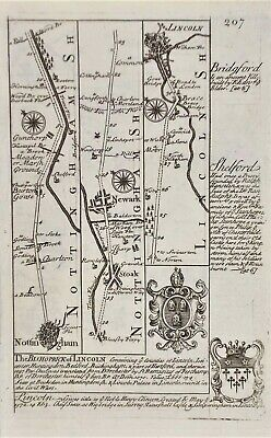 OLD ANTIQUE COACH ROAD MAP by OWEN BOWEN c1740'sNOTTINGHAM LINCOLN DOUBLE SIDED