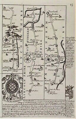 OLD ANTIQUE COACH ROAD MAP by OWEN BOWEN c1740's GRANTHAM NEWARK DOUBLE SIDED