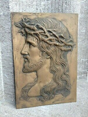 Antique French Bronze Relief Jesus Christ Holy Face crown of thorns Wall Plaque