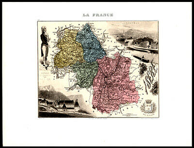 1879 Alexandre Vuillemin Engraved Hand-Colored Map France Rhone Alpes Grenoble