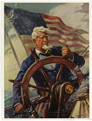 1940s WWII Home Front Hy Hintermeister Print Uncle Sam Sail On O Ship of State