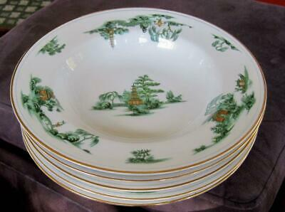 """Five Narumi China Manchu 8.5"""" Rimmed Soup Bowls Made in Occupied Japan"""