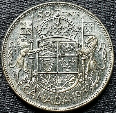 1953 Canada Silver 50 Cent Half Dollar Coin - AU-50 - NSF LD (Trends at $50)
